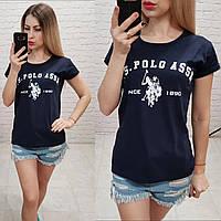 Женская летняя футболка реплика Polo Турция 100% катон темно-синяя, фото 1