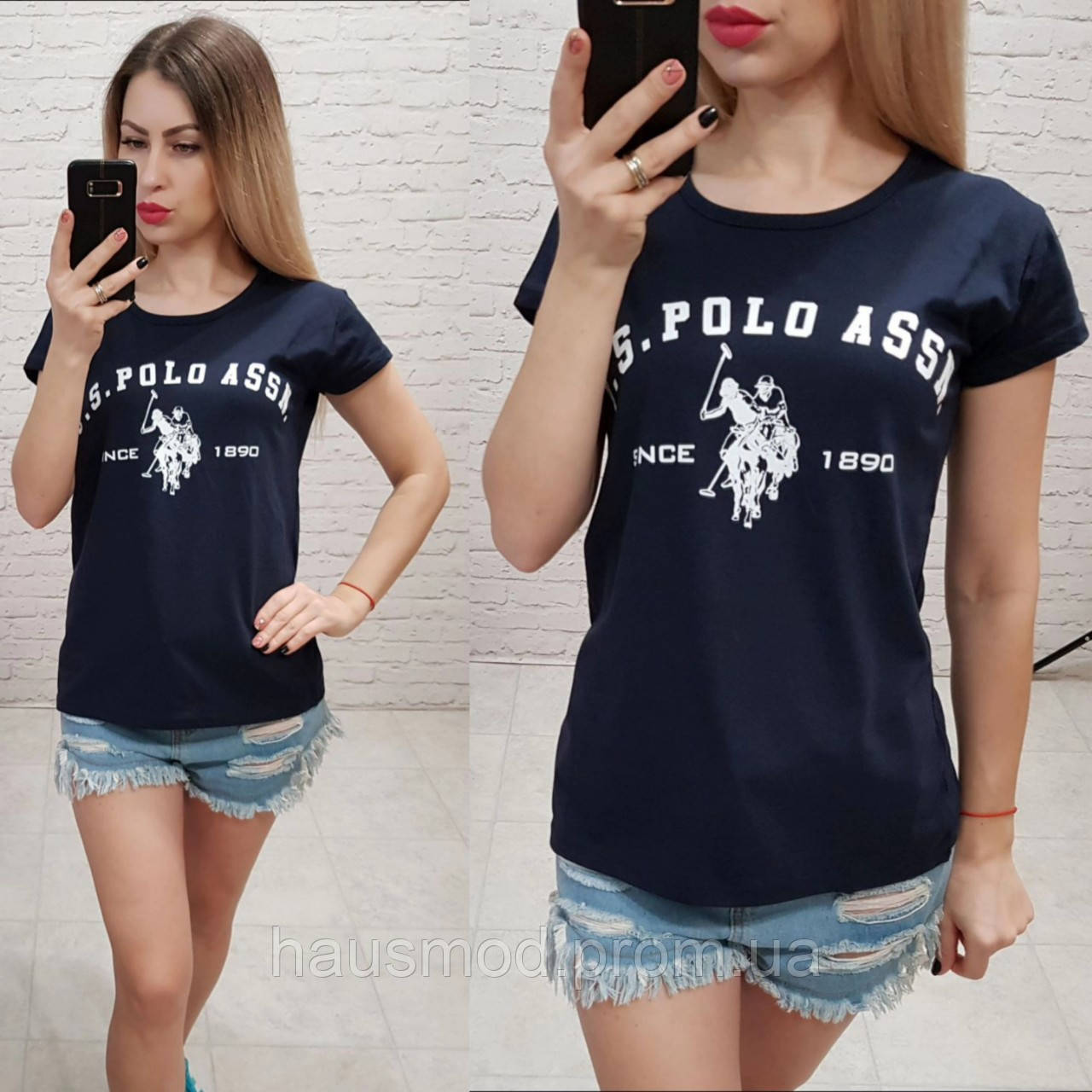 Женская летняя футболка реплика Polo Турция 100% катон темно-синяя
