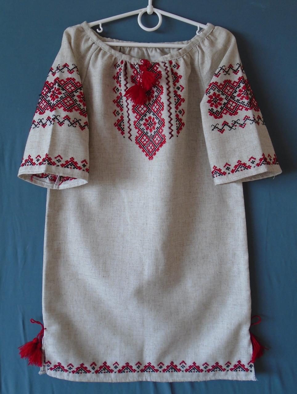 5c1e9e7f908a90 Вишите плаття ручна робота для дівчинки 9-10 років на сірому льоні -  Інтернет-