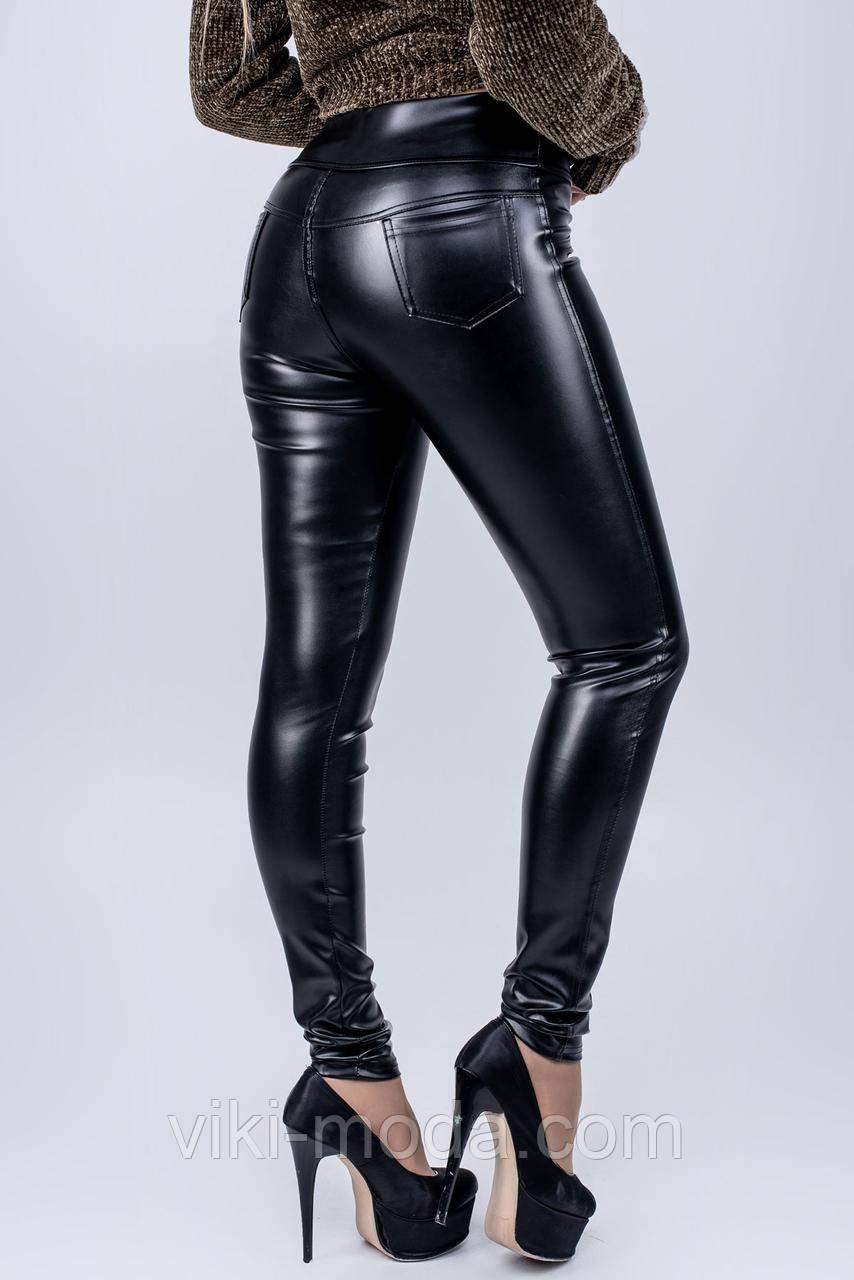 Молодежные кожаные лосины Фурия, цвет черный