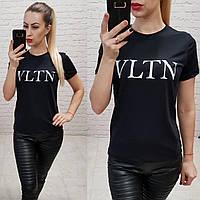 Женская футболка 100% катон реплика VLTN Турция черная, фото 1
