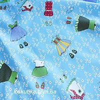 37015 Платьице (голубой фон). Ткань с детским рисунком. Подойдет для пэчворка, скрапбукинга и декора.