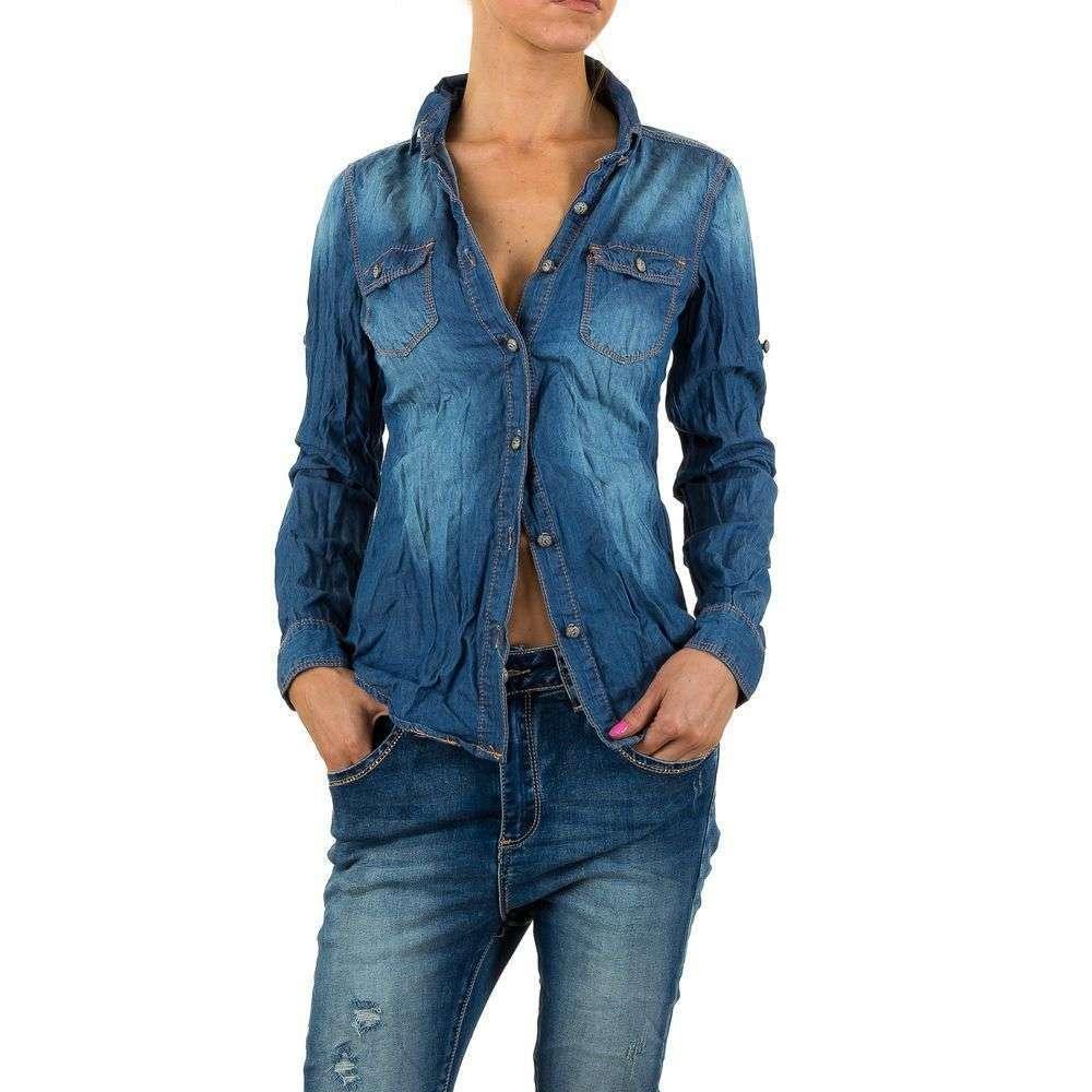 7de03ac0b90 Женская джинсовая рубашка мятая Mozzaar (Европа) купить оптом в ...
