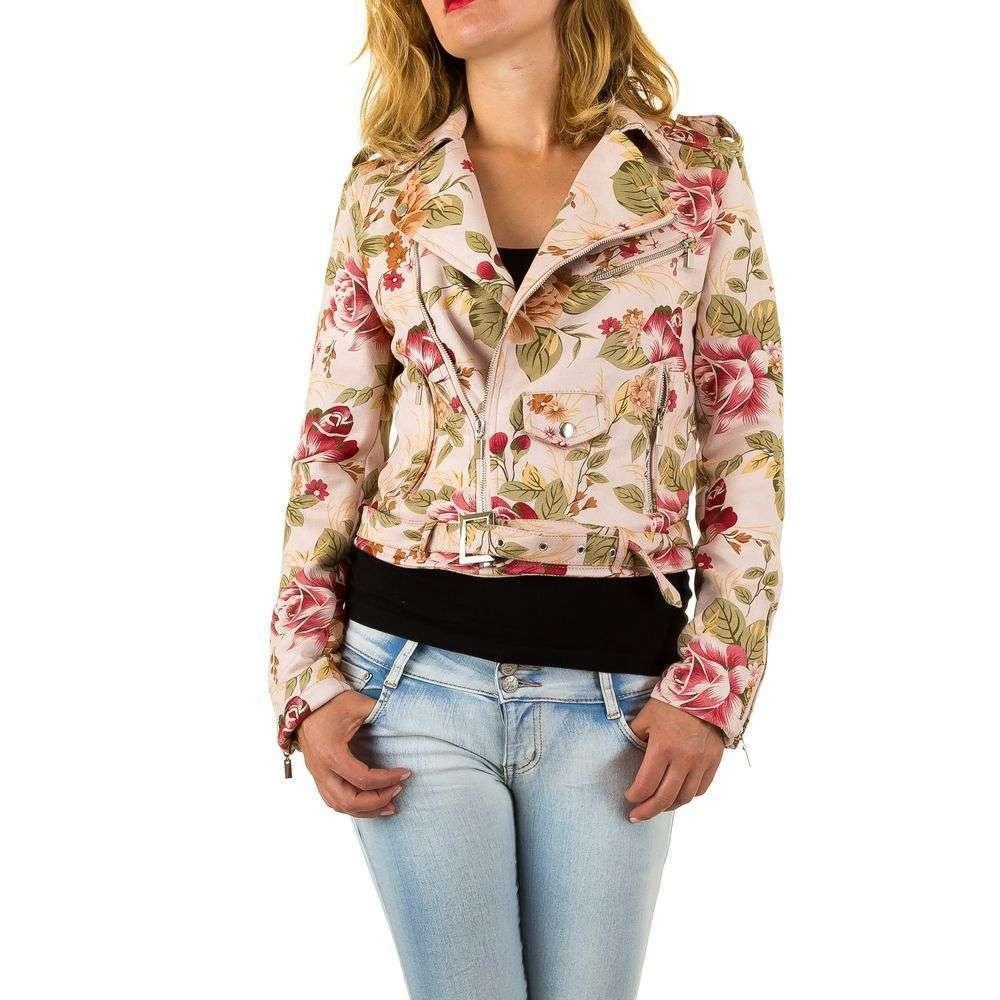 Цветочная куртка косуха женская из искусственной кожи (Европа), Розовый