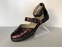 Женские сандалии из натуральной кожи с принтом