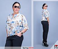 Блуза женская молодежная большие размеры Г158 Цветы, фото 1