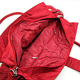 Красная большая сумка женская Epol текстильная дорожная спортивная, фото 5