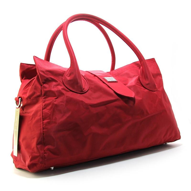Красная большая сумка женская Epol текстильная дорожная спортивная
