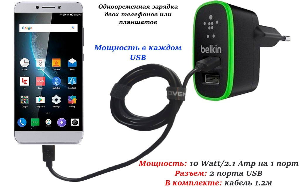Сетевое зарядное устройство для LeEco Le Max 2 (Tupe C)