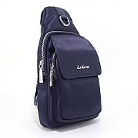 Рюкзак на одно плечо zg-8603 blu синий текстильный мужской