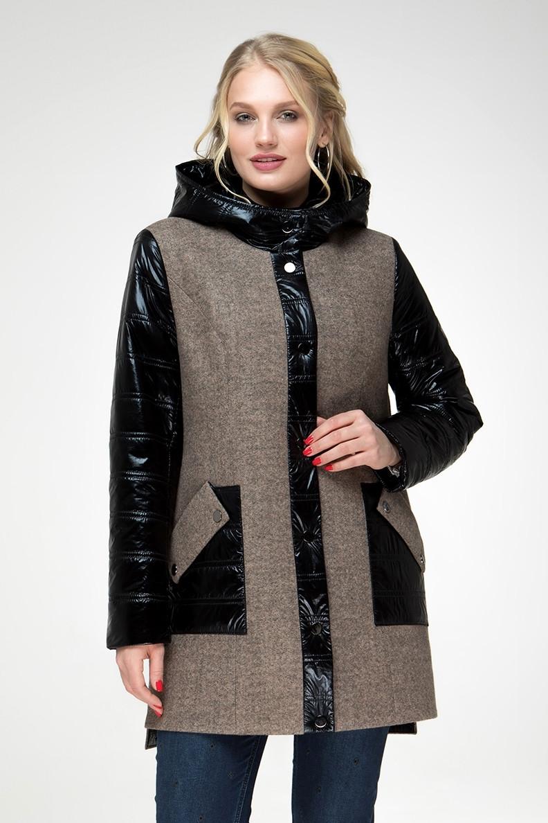 Комбинированное пальто с накладными карманами, размеры 48 50 52