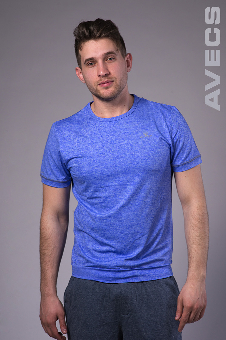 Футболка мужская с манжетом синяя Avecs AV-30019 Размеры S M L XL 2XL