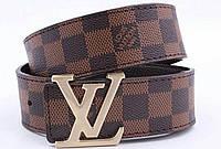 Кожаный Ремень мужской пояс Louis Vuitton Brown (копия Луи Витон) в клетку коричневый