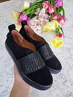 Комбинированные слипоны мокасины кеды для девочки подростка натуральные размер 32-41 детская кожаная обувь