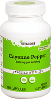 Кайенский перець, Vitacost, Cayenne Pepper, 600 мг, 180 капсул