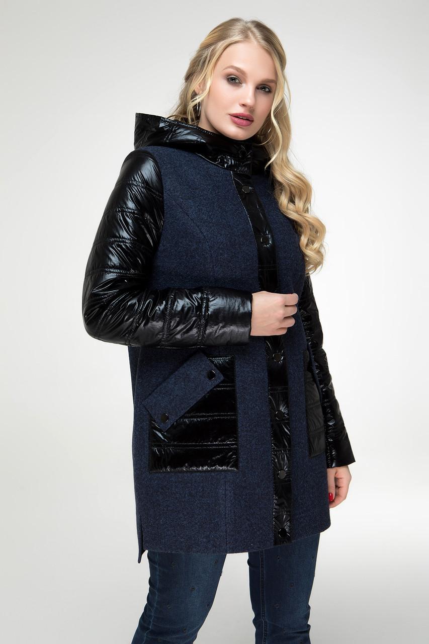 Комбинированное пальто с накладными карманами, размеры 48-54