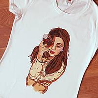 Женская футболка с росписью акриловыми красками Ручная работа