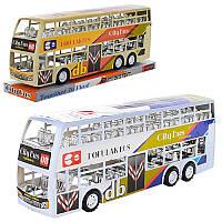 Автобус двухэтажный игрушечный XY968P, инер-й, 38см, 2цвета, в слюде, 38-13-9см
