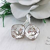 Объемные красивые сверкающие серебряные серьги с оригинальными кристаллами Swarovski