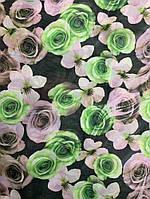 Шифон салатовые цветы, фото 1