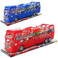 Автобус двухэтажный игрушечный3091B, инер-й, 38см, 2цвета, в слюде, 38-11-9см