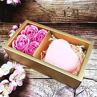 Мыло в форме бутона розы набор с сердцем