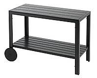 Столик-тележка садовый на колесах черный, фото 1