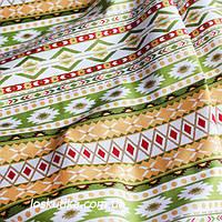32021 Узор вышивки (желтый, зеленый). Хлопковые ткани для шитья и рукоделия. Подойдет для пэчворка.