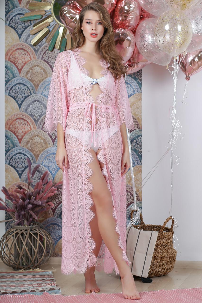 Пляжная туника из французского кружева, цвет - нежно-розовый.