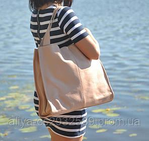Кожаная женская сумка Mesho пудра