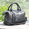 Кожаная женская сумка Барселона черная, фото 5