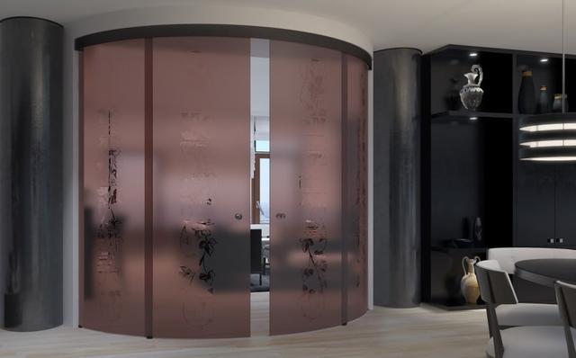 Радиусная межкомнатная стеклянная дверь
