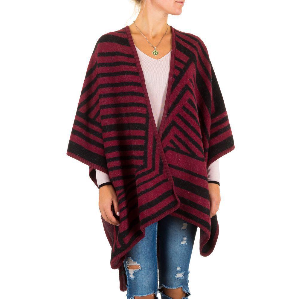 Женское пончо с полосками от бренда Best Fashion (Франция), Бордовый