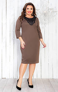 Нарядное платье с кружевом 50-56 р (электрик, серый, бежевый )