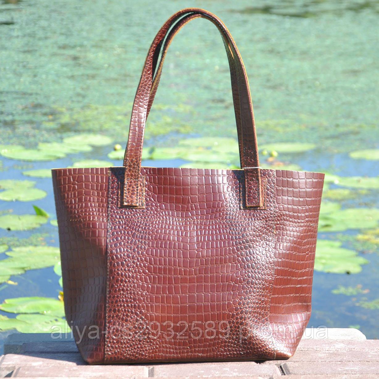 Кожаная женская сумка Флоренция крокодиловая коричневая