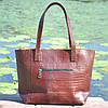 Кожаная женская сумка Флоренция крокодиловая коричневая, фото 4