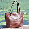 Кожаная женская сумка Флоренция крокодиловая коричневая, фото 5