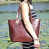 Кожаная женская сумка Флоренция крокодиловая коричневая, фото 6