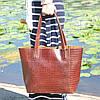Кожаная женская сумка Флоренция крокодиловая коричневая, фото 7