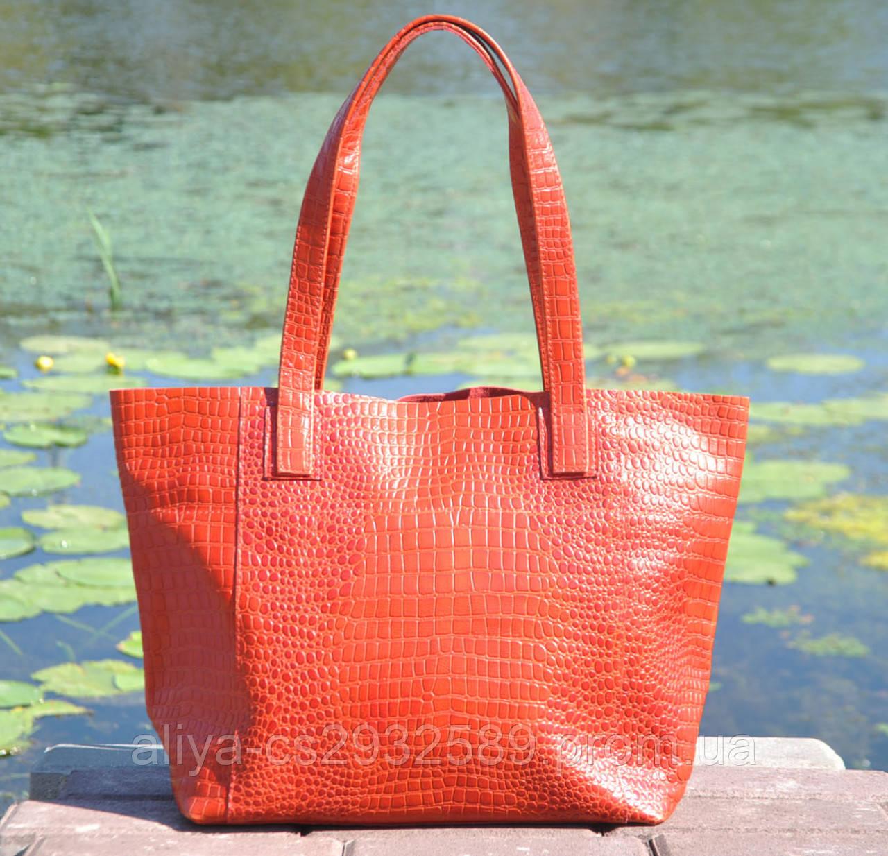 Кожаная женская сумка Флоренция крокодиловая красная