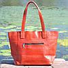 Кожаная женская сумка Флоренция крокодиловая красная, фото 4