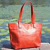Кожаная женская сумка Флоренция крокодиловая красная, фото 5