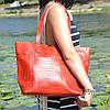 Кожаная женская сумка Флоренция крокодиловая красная, фото 6