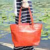 Кожаная женская сумка Флоренция крокодиловая красная, фото 7