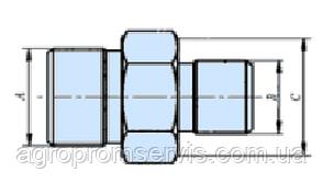 Штуцер соединительный S32-S27 (М27х1.5-М22х1.5) гидросоединения, фото 2