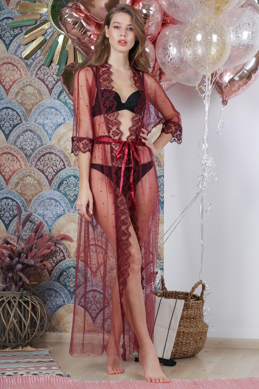 Туника пляжная декорированная жемчугом, цвет - бордо.