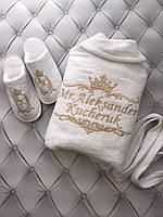 Махровый халат с именной вышивкой белый, фото 1