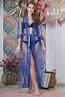 Туника пляжная декорированная жемчугом, цвет - синий.