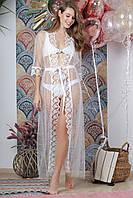 Туника пляжная декорированная жемчугом, цвет - белый.