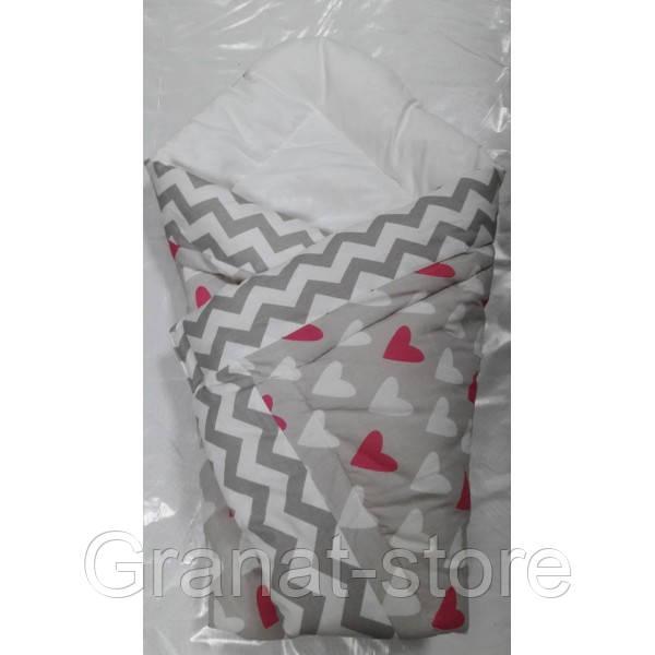 "Конверт одеяло на выписку ""Юлия"" сердечки"